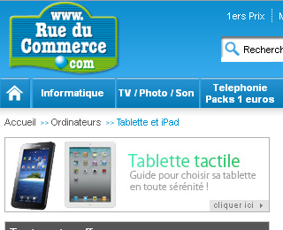 Tablette Rueducommerce